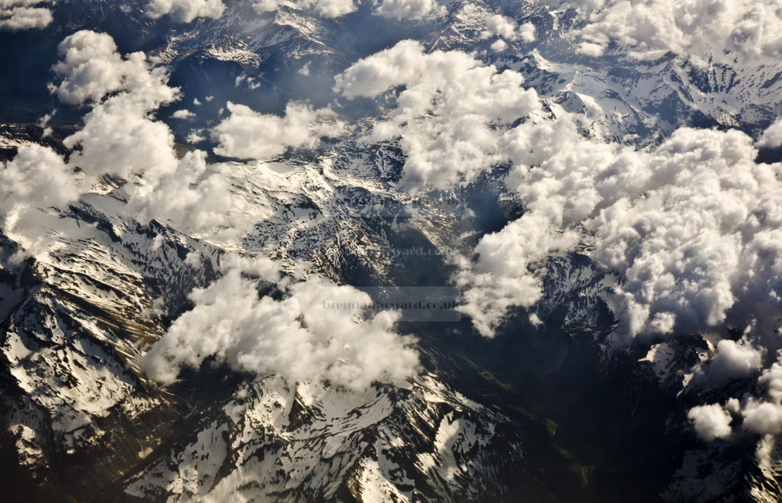 """Alpine view from the air in late spring"" stock image"