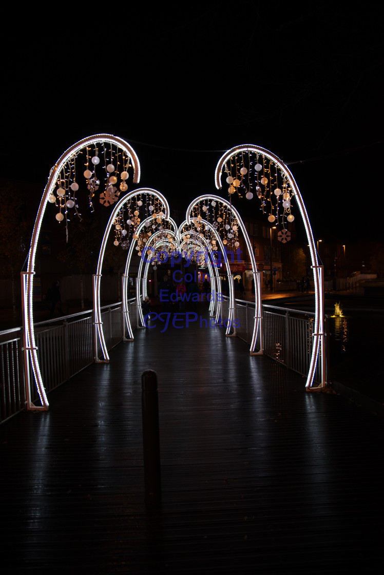 """Christmas Lights, Watford, England"" stock image"