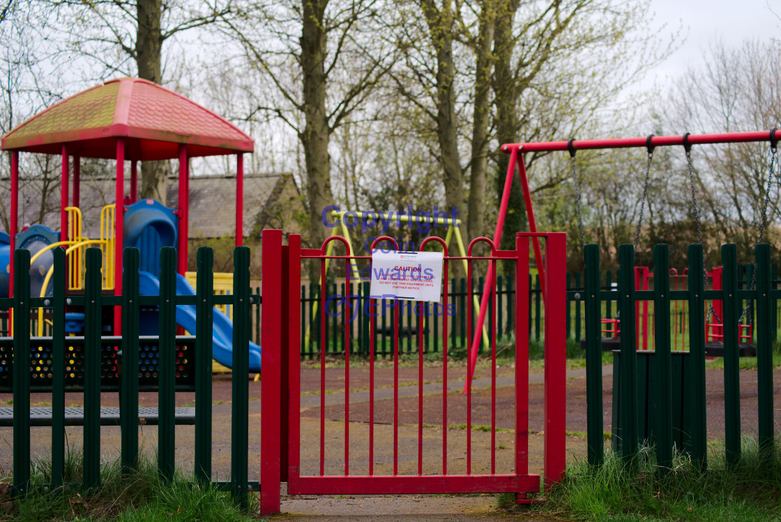 """Play area closures due to Coronavirus, Greenside, England"" stock image"