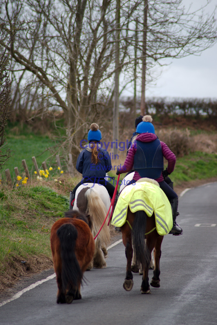 """Horseriders on Folly Lane in Greenside"" stock image"