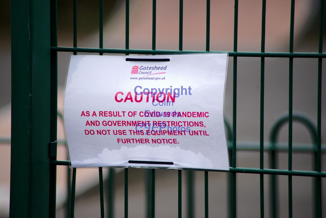 """Play area closures due to Coronavirus, Greenside, England"" stock image"