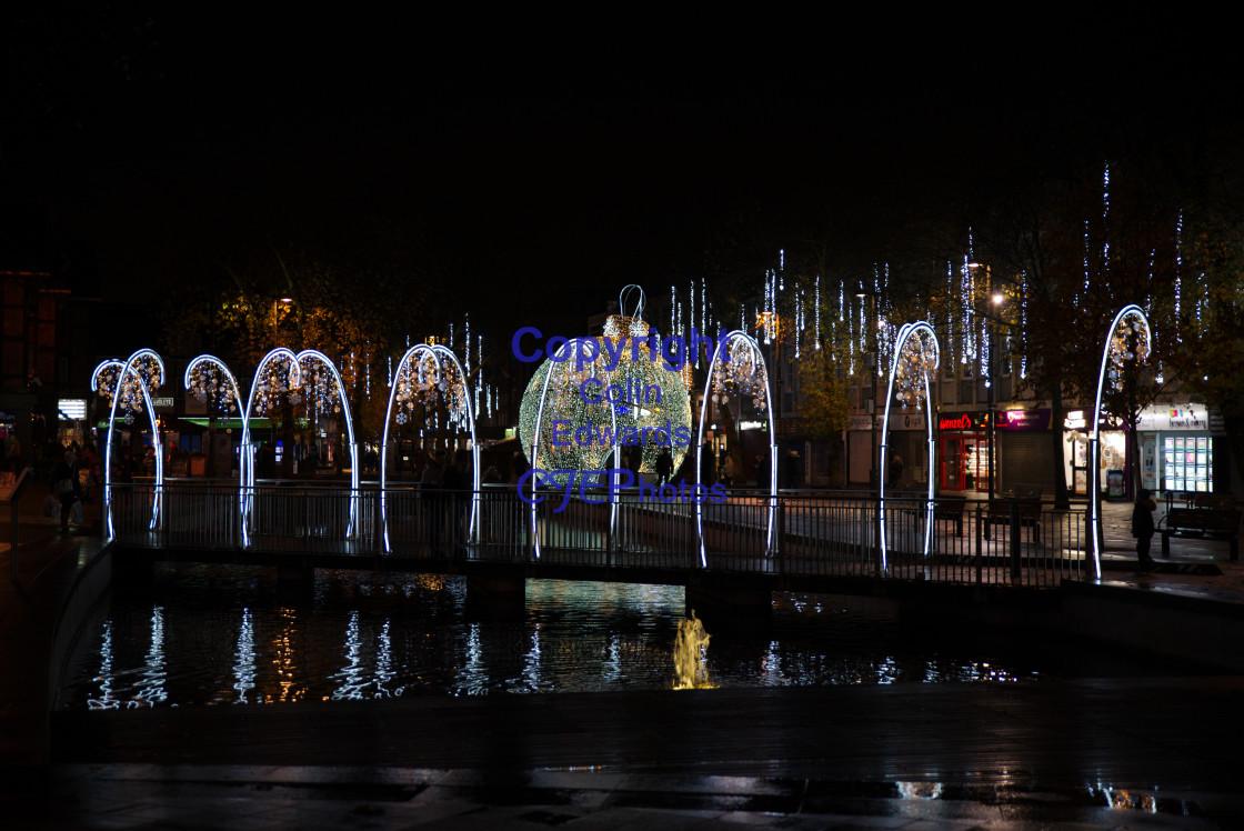 """""""Christmas Lights, Watford, England"""" stock image"""