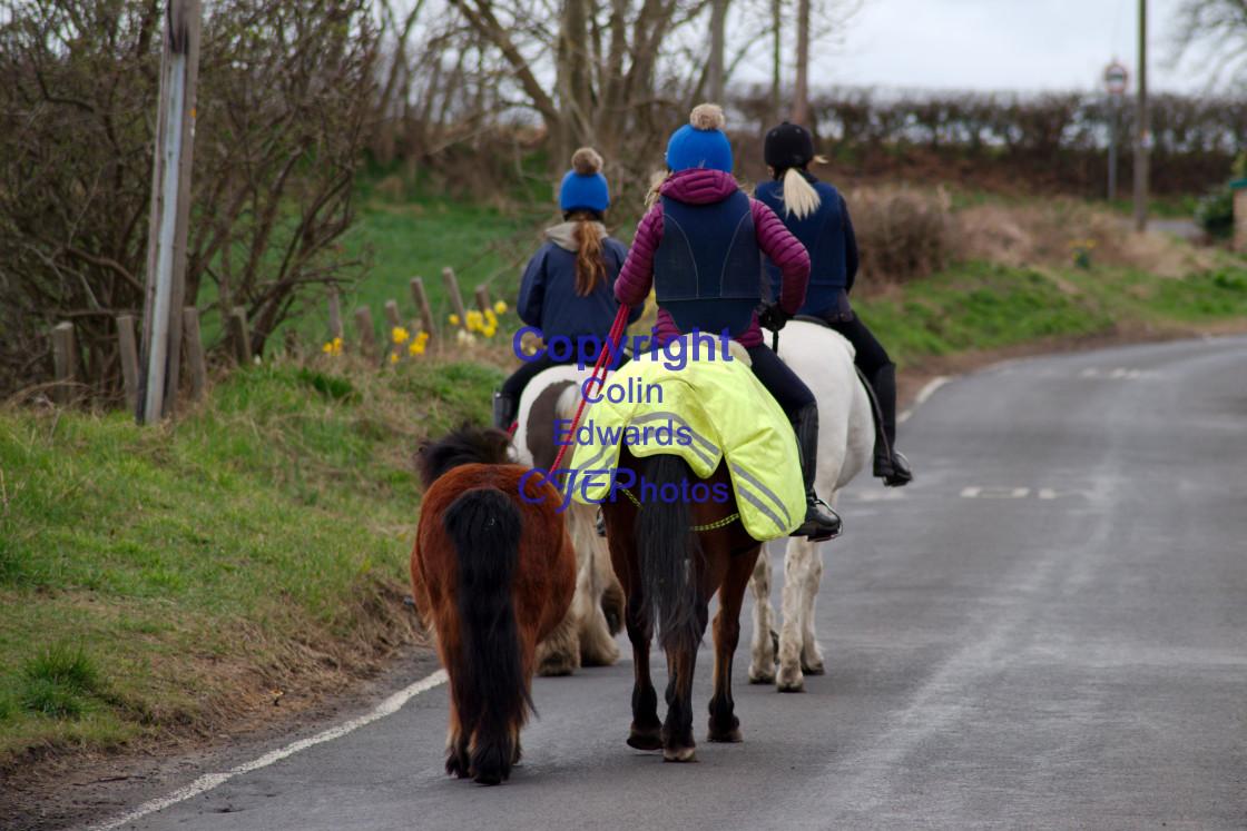 """Horseriders on Folly Lane in Greenside"" stock image"