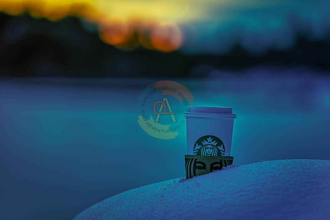 """""""photography-advertising-sunrise-lake-snow"""" stock image"""