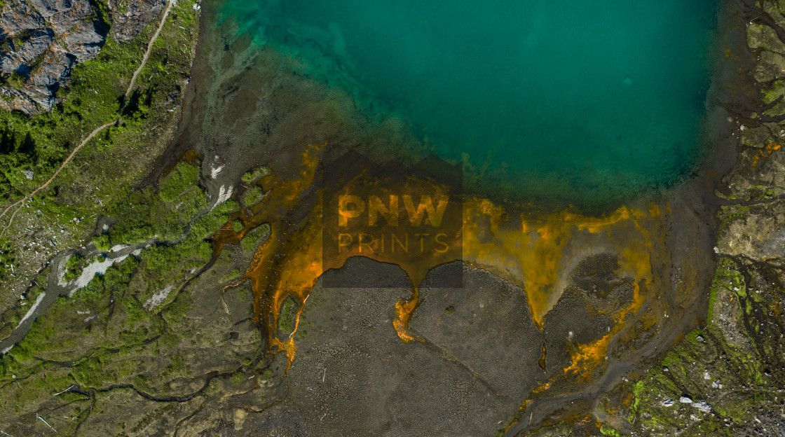 """Mt Baker Aerial Alpine Lake Algae Bloom"" stock image"