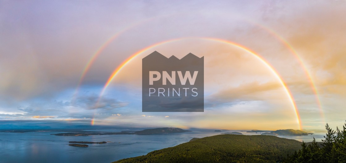 """San Juan Islands Double Rainbow"" stock image"