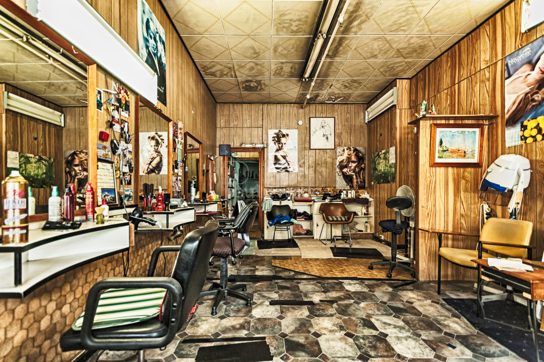 """""""Vintage Barber Shop interior unchanged for decades"""" stock image"""