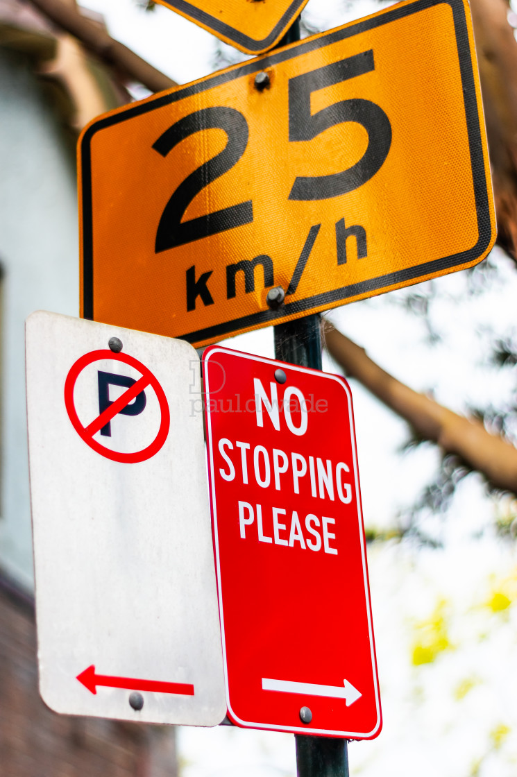 """""""No Parking, No Stopping and Speed Limit road signs in Australia"""" stock image"""