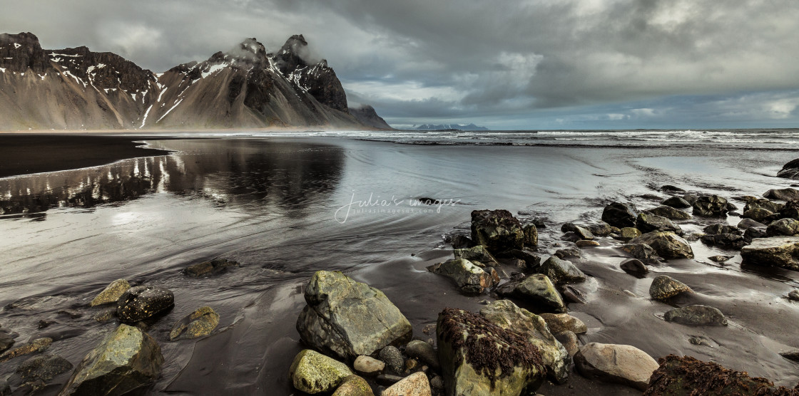 """Shoreline at Vestrahorn Mountain, Iceland"" stock image"