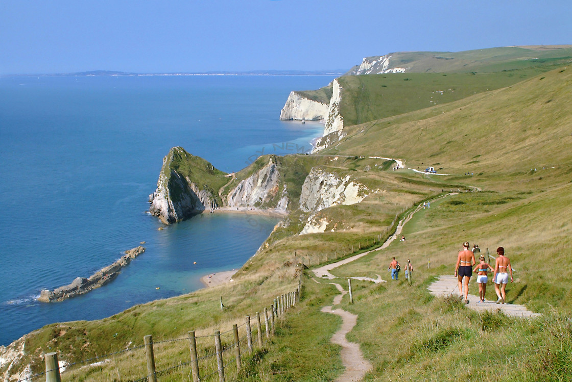 """Clifftop walk along the Jurassic coast"" stock image"