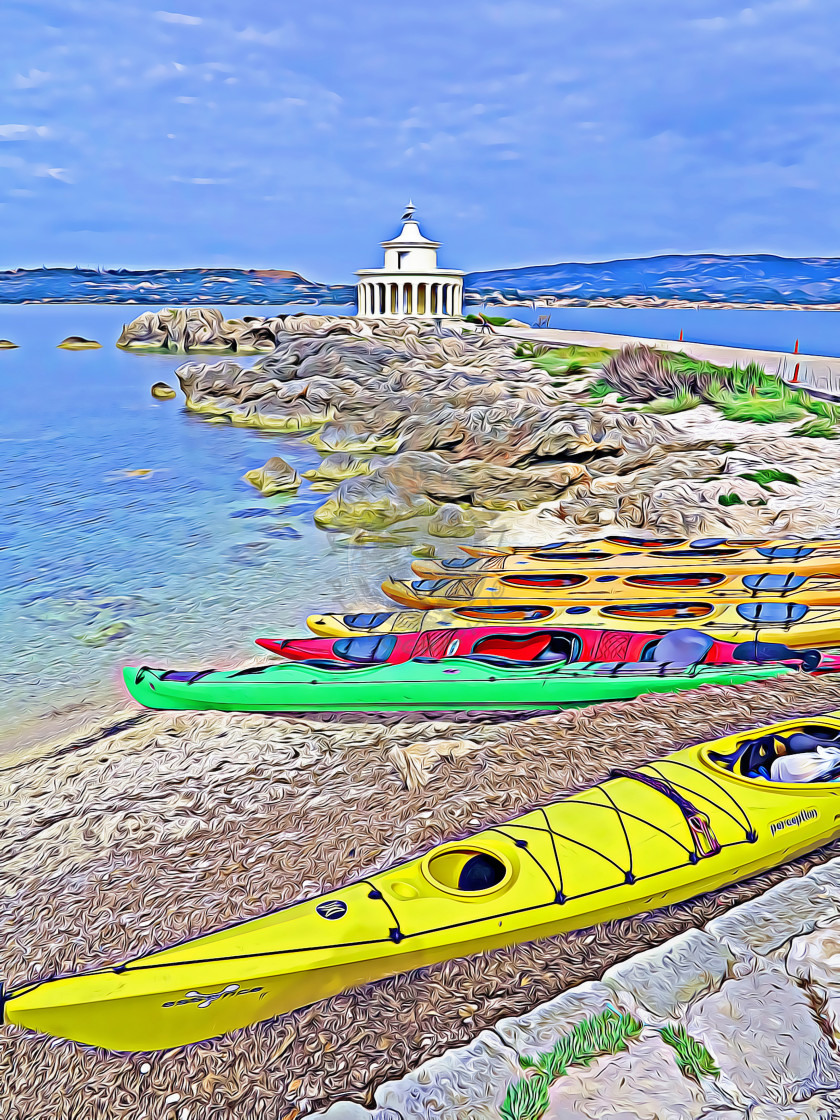 """Kayaks in front of the stylish Fanairi Lighthouse"" stock image"