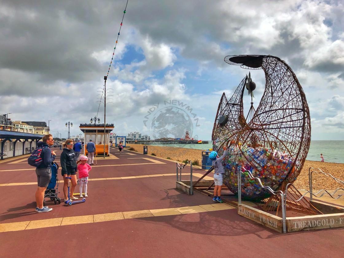 """Sculpture highlighting plastic waste on Southsea promenade."" stock image"