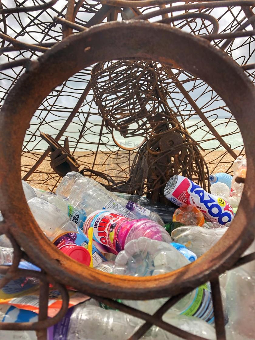 """Sculpture highlighting plastic waste"" stock image"