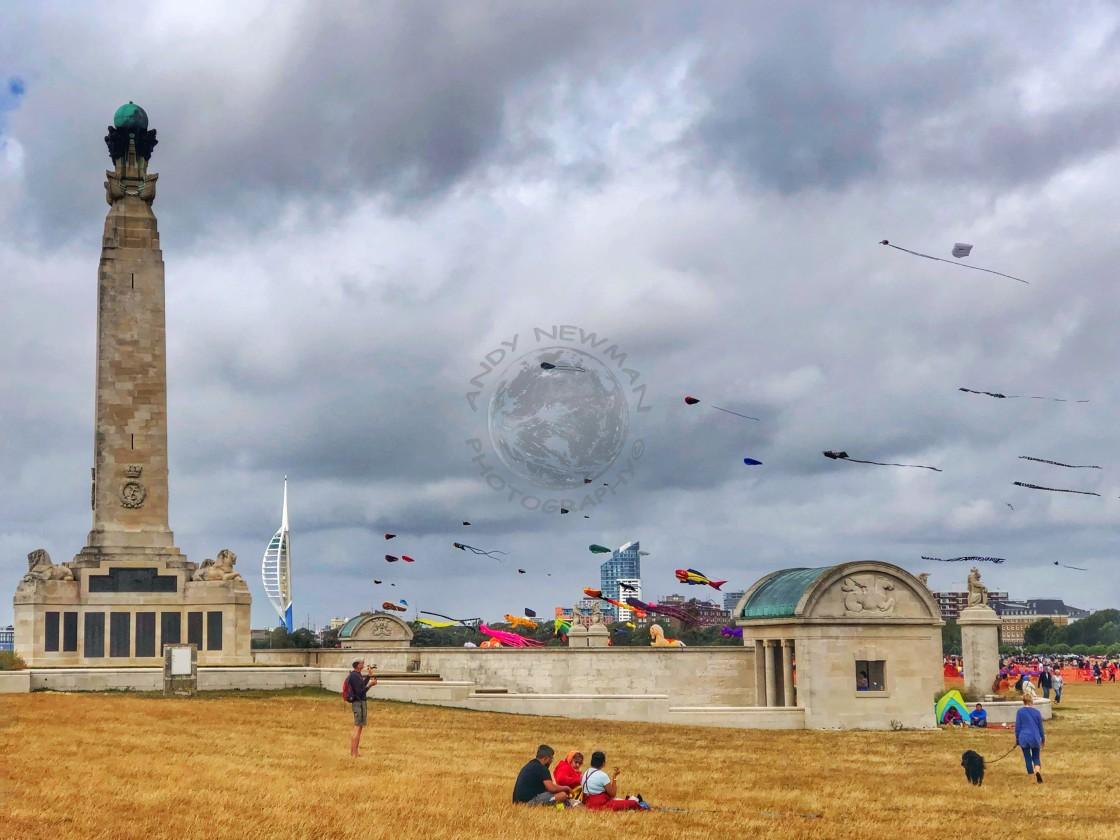 """""""Portsmouth Navy memorial on kite fair day"""" stock image"""