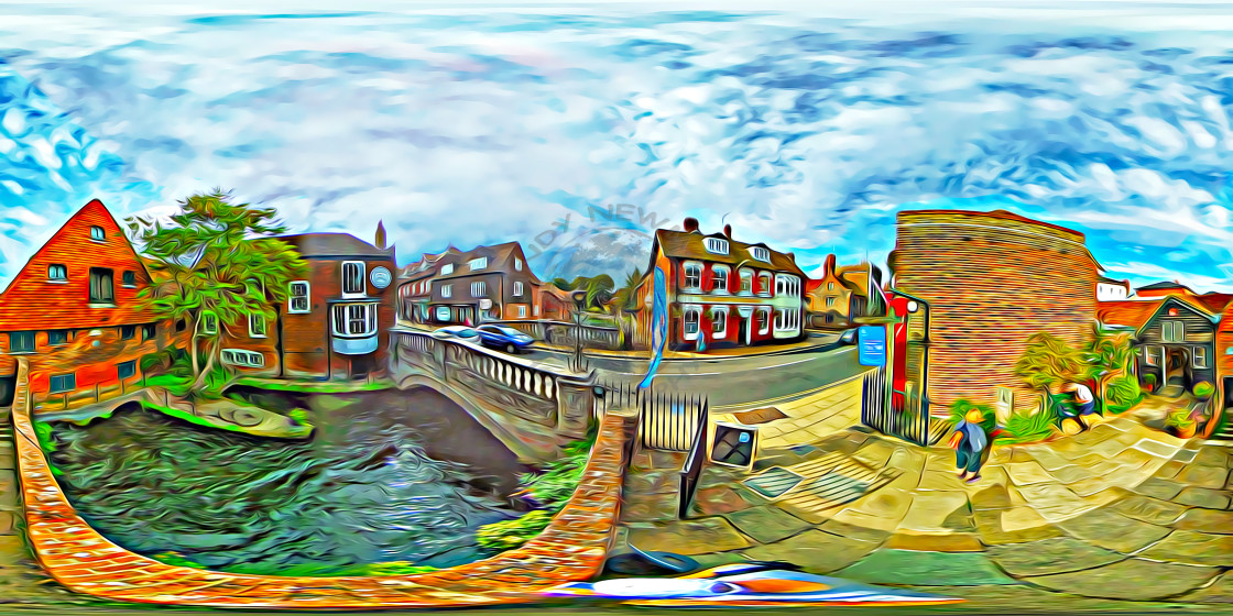 """""""Winchester Mill and River Itchen (360VR digital art)"""" stock image"""
