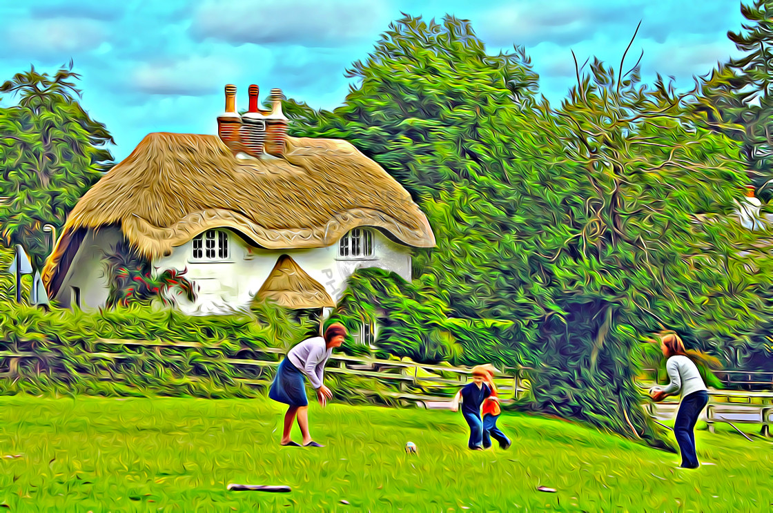 """Family playing in Hampshire."" stock image"