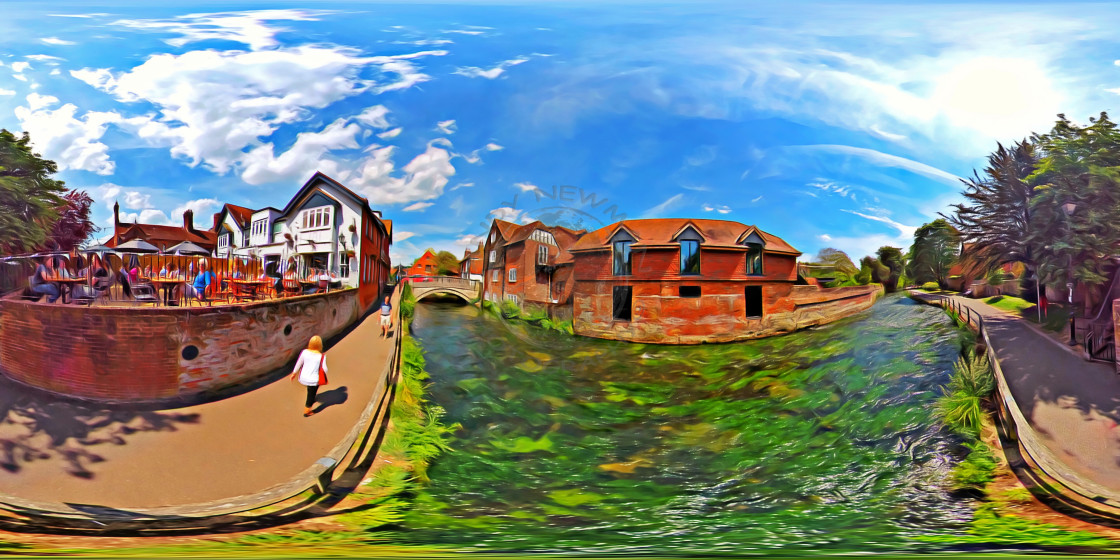 """River Itchen in Winchester (360Vr digital art)"" stock image"