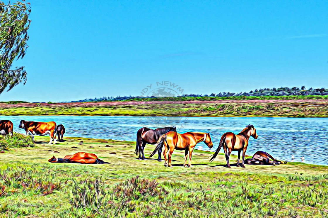 """""""Ponies and cows next to pond. (digital art)"""" stock image"""