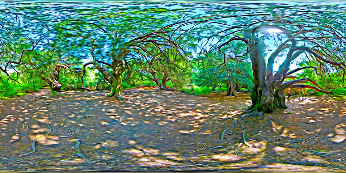 """""""Ancient Yew Trees in Kingley Vale. (360VR digital art)"""" stock image"""