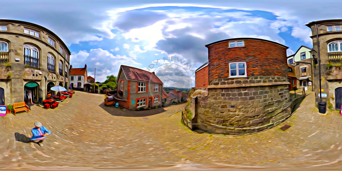 """""""Gold Hill in Shaftesbury. (360VR digital art)"""" stock image"""