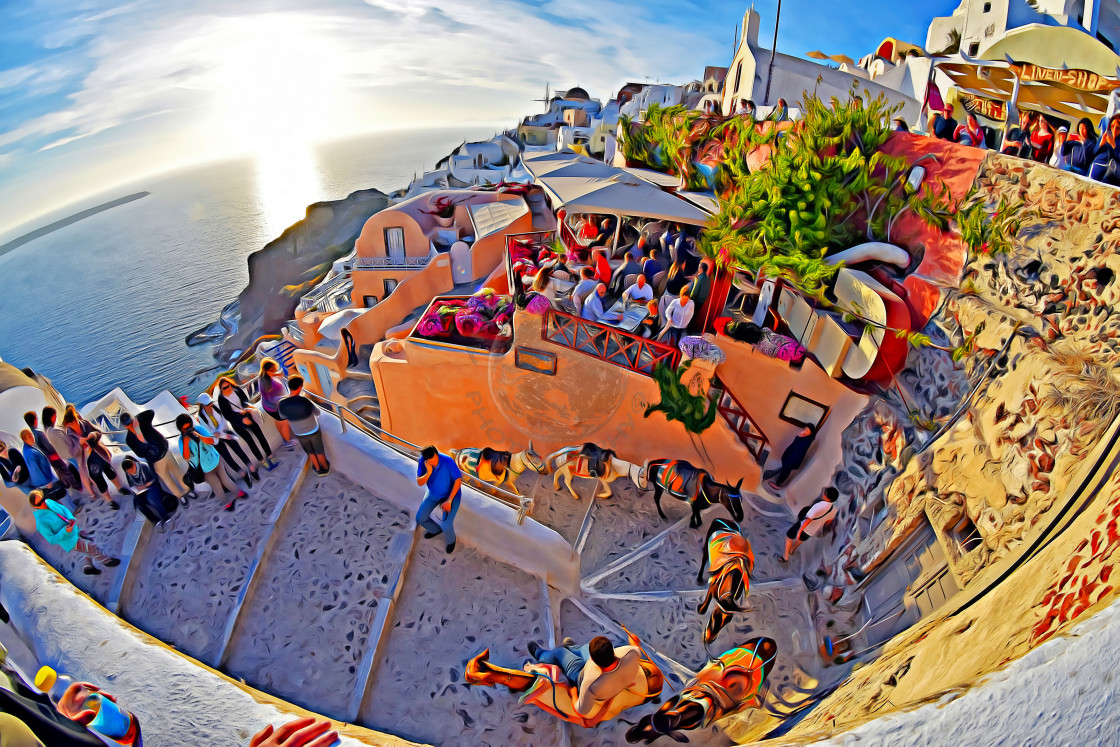"""Donkey trail through the streets of Oia (Digital art)"" stock image"