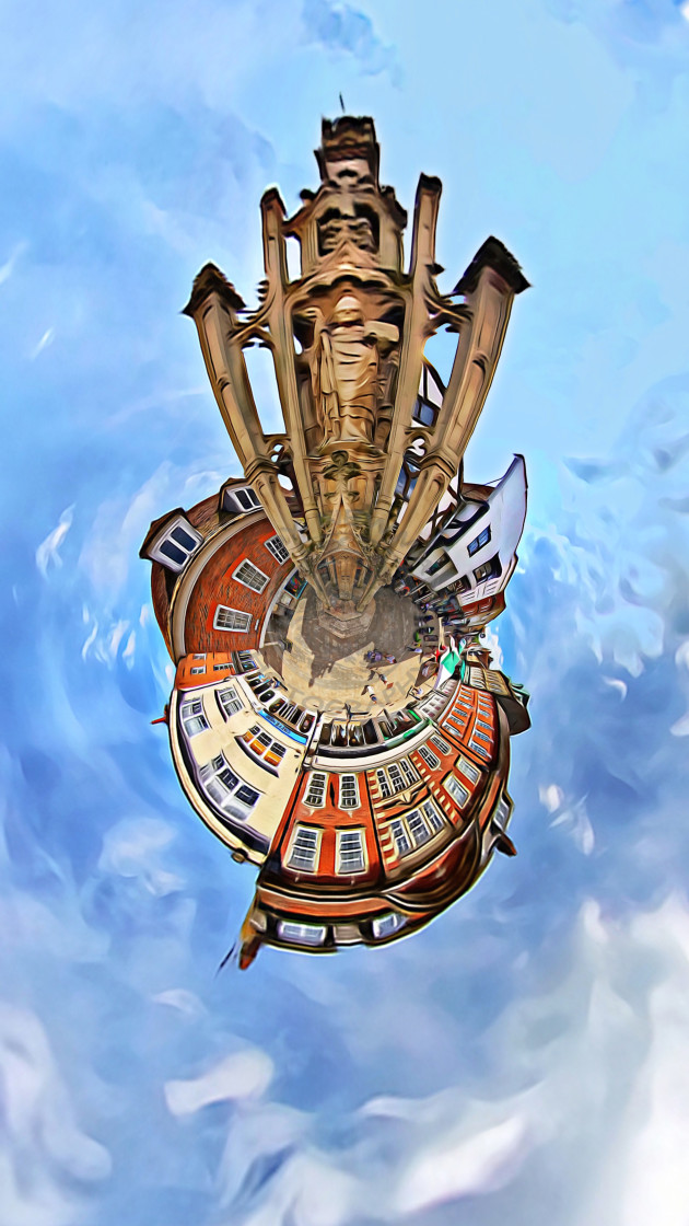 """""""Winchester town (little planet)"""" stock image"""