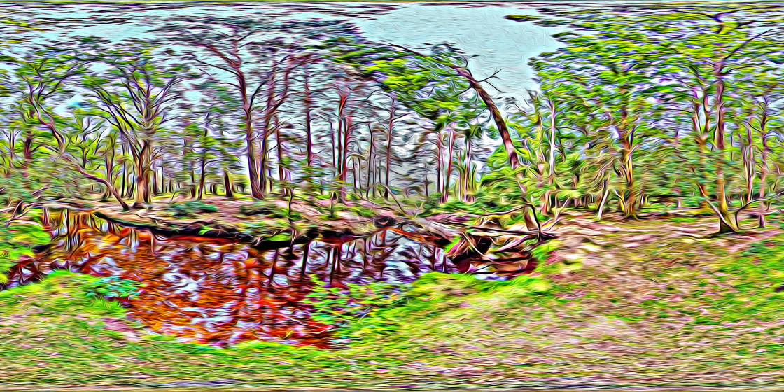 """""""Ober water in the New Forest (digital art)"""" stock image"""