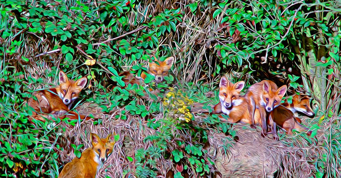 """Fox family (Digital art)"" stock image"