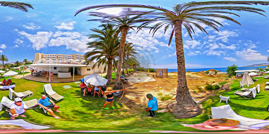 """""""Queens bay Holiday hotel in Paphos (360 digital art)"""" stock image"""