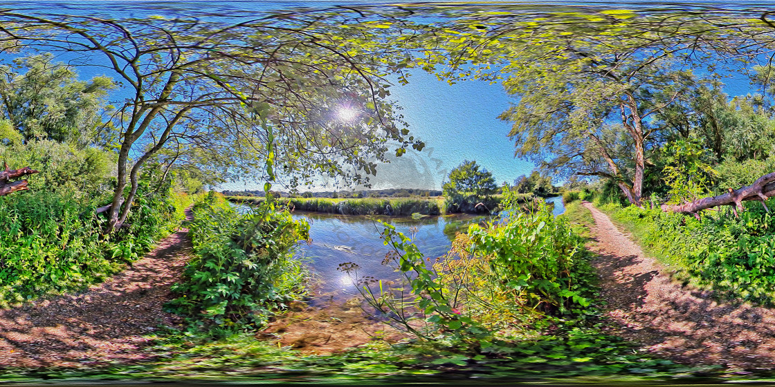 """River Itchen in Hampshire (360VR Digital art)"" stock image"