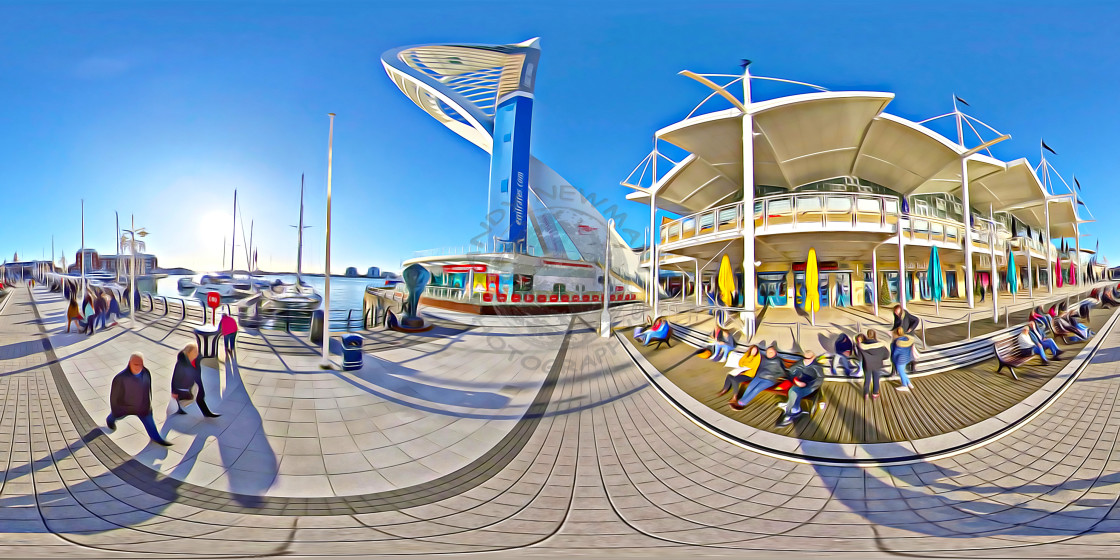 """Gunwharf quays in Portsmouth (360VR digital art)"" stock image"