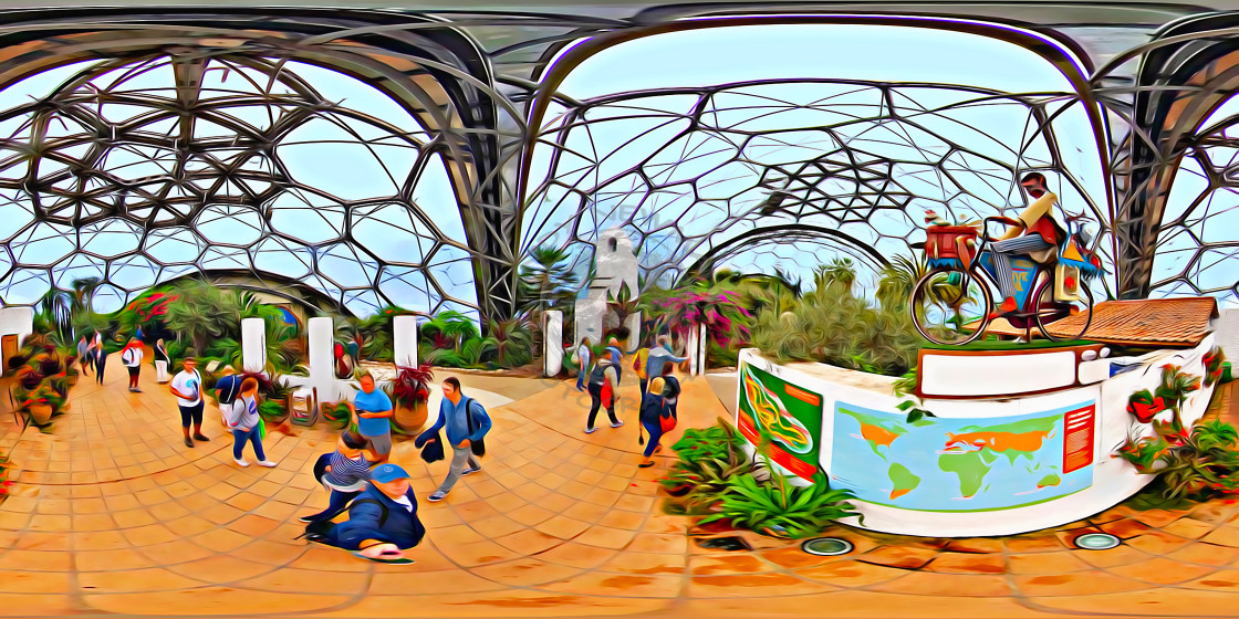 """Eden Project in Cornwall (360VR digital art)"" stock image"