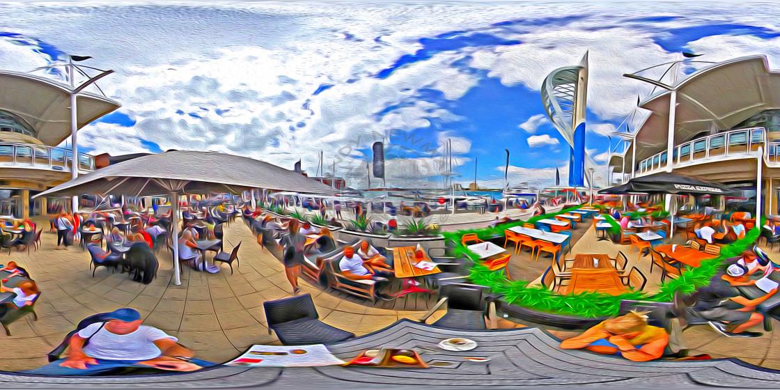 """Gunwharf quays in Portsmouth (360VR digital art)"" stock image"