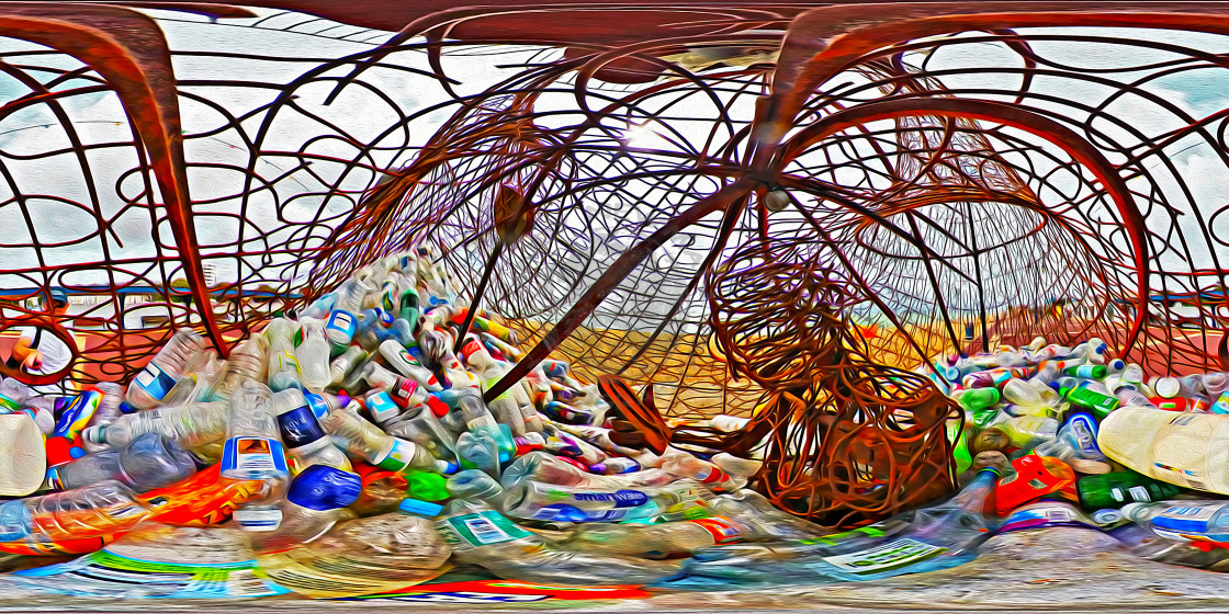 """Sculpture highlighting plastic waste (360VR digital art)"" stock image"