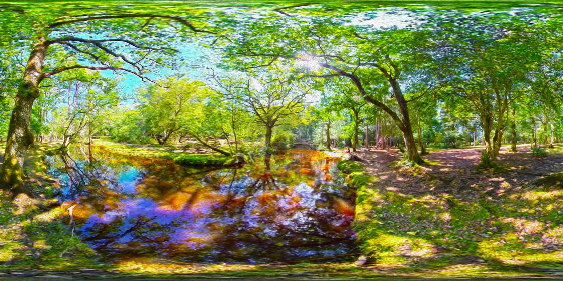 """""""Forest Stream (360VR Digital art)"""" stock image"""