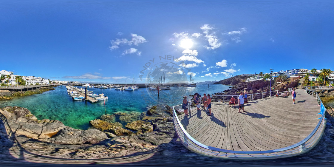 """Old Town Harbour in Lanzarote (360-VR)"" stock image"
