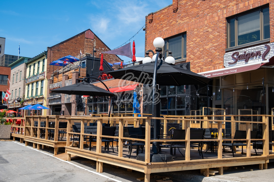 """""""Extended Patio Service in Ottawa's ByWard market"""" stock image"""