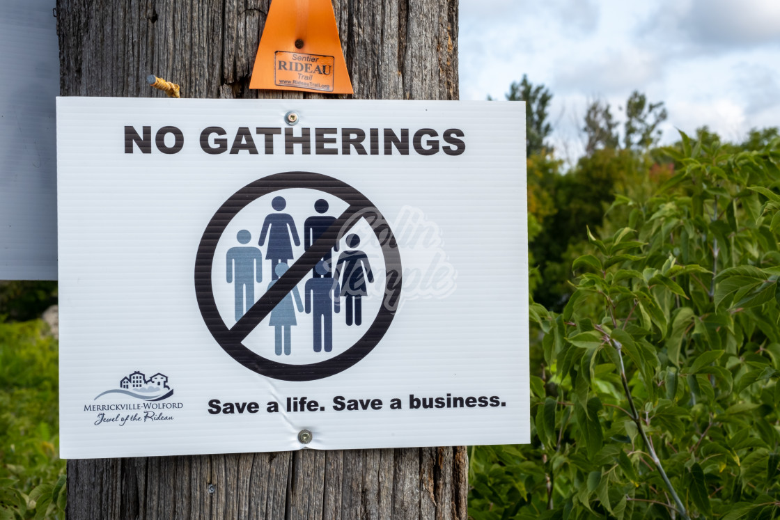 """No Gatherings sign in Ontario town during pandemic"" stock image"