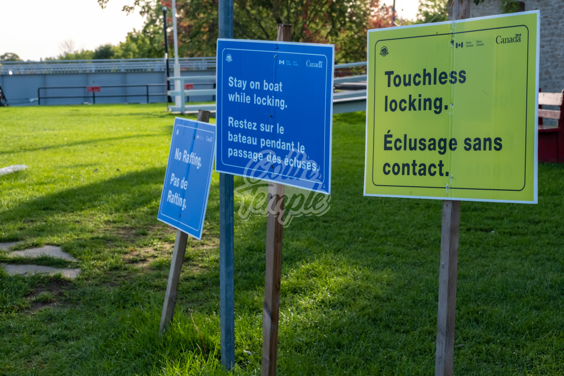 """""""Touchless Locking signs at Rideau Canal locks"""" stock image"""