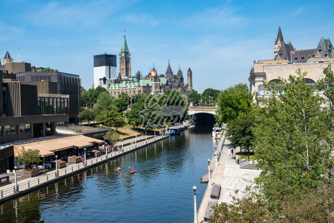 """Kayaks on the Rideau Canal of Downtown Ottawa"" stock image"