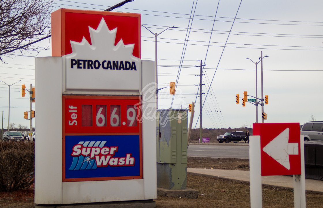 """Low gas price at Petro-Canada amid COVID-19 crisis"" stock image"