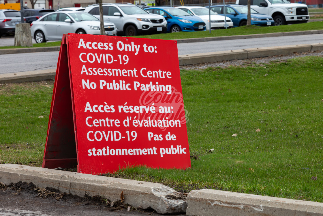 """COVID-19 Assessment Centre parking sign in Ottawa"" stock image"