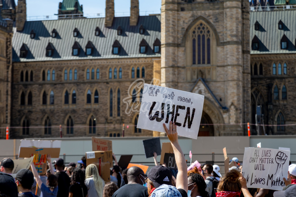 """""""'If Not Now, When': Protest on Parliament Hill"""" stock image"""