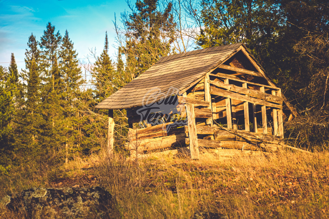 """An old shack in disrepair"" stock image"