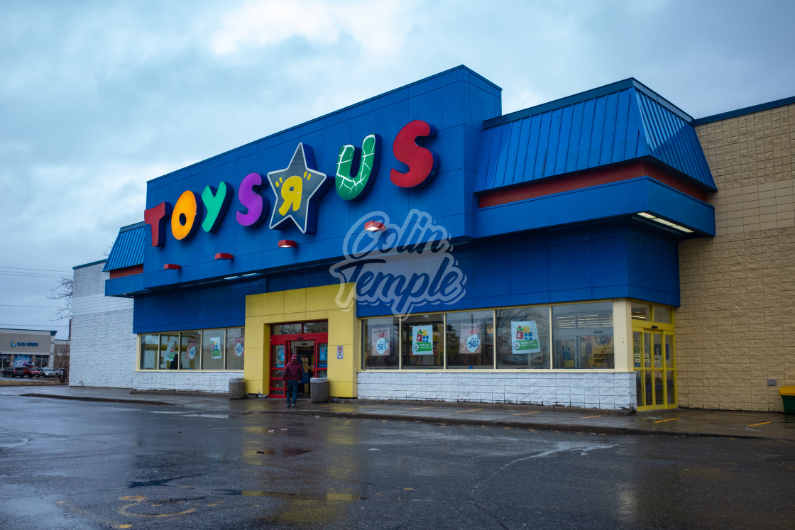 """Toys ""R"" Us Store on rainy day in Ottawa, Canada"" stock image"