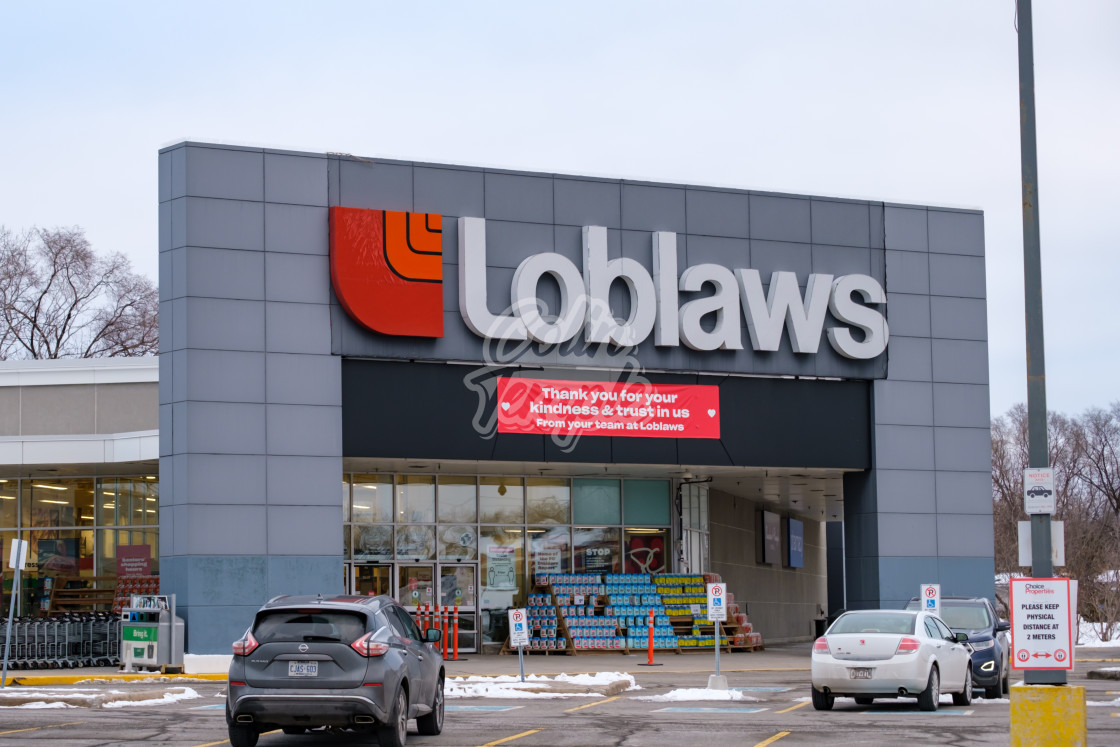 """Loblaws 'Thank You' banner in Ottawa"" stock image"