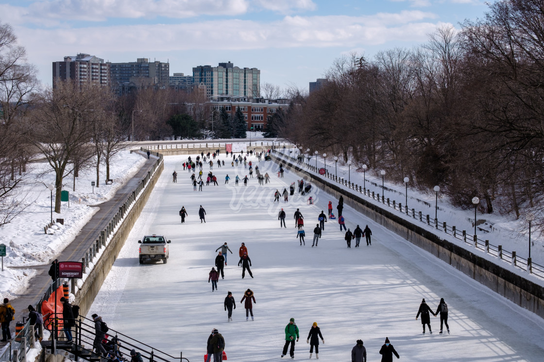 """High angle view of ice skating on the Rideau Canal Skateway"" stock image"