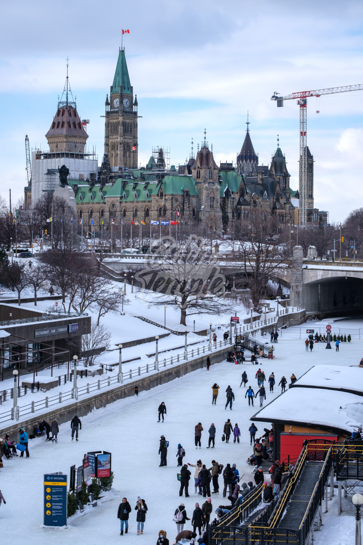 """""""Parliament Hill and Frozen Rideau Canal in Ottawa"""" stock image"""
