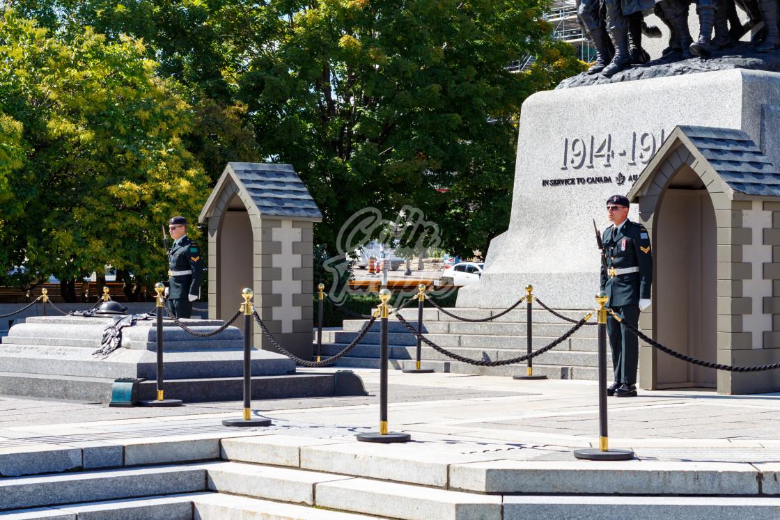 """""""Ceremonial Guard Sentry at National War Memorial"""" stock image"""