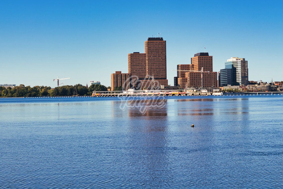 """Gatineau buildings across Ottawa River"" stock image"